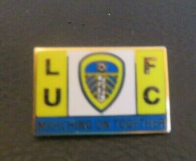Leeds United 'Marching On Together' Yellow White Blue Badge