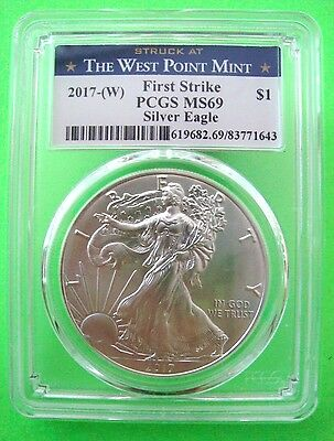 2017 (W) AMERICAN SILVER EAGLE PCGS MS69 WEST POINT FIRST STRIKE 1oz Coin
