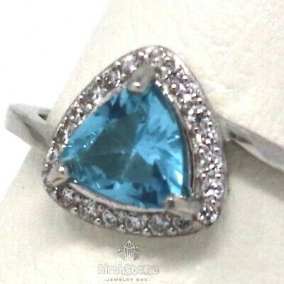 Antique Triangle Cut Genuine Aquamarine Ring Women Wedding White 14K Gold Plated