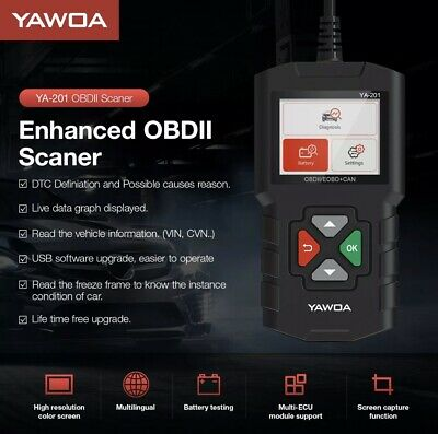 Yawoa YA201 OBD2 Code Reader Auto Car Diagnostic Tool OBDII Scanner Analyzer