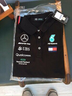 NEW 2019 Mercedes AMG F1 Team Lewis Hamilton Polo Shirt BLACK womens – OFFICIAL