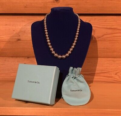 """Tiffany & Co Graduated Ball Bead 16"""" Necklace Sterling Silver 100% Authentic"""