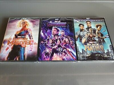 Avengers End Game, Black Panther, Captain Marvel 3-Movie DVD Bundle New & Sealed
