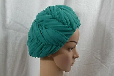 VINTAGE 1960s teal green nylon turban style hat ruffled
