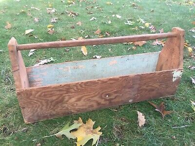 Antique Handmade Wooden Carpenter's Tool Box Vtg Primitive Tool Caddy 24 x 6""
