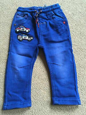 BNWT NEXT Boys Racing Car Blue Denim Jogger Jeans 9-12 Months
