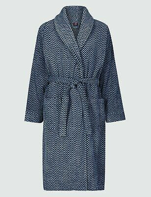 Ex M&S Collection Men's Luxury Pure Velour Cotton Printed Dressing Gown RRP £59