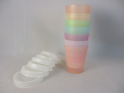 Vintage TUPPERWARE Pastel Midget Containers and Lids, set of 7-- Holds 2 oz.