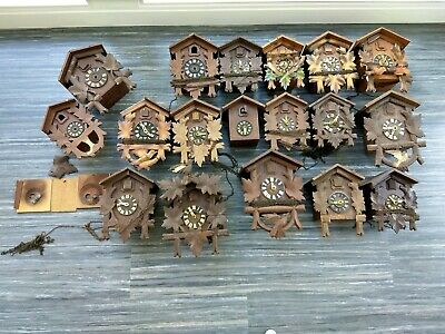 VINTAGE LOT OF 18  GERMAN CUCKOO CLOCKS for PARTS or non working all wood