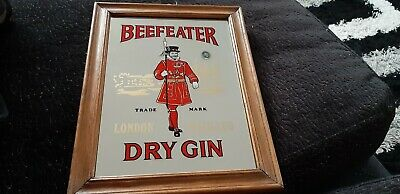 Beefeater Dry Gin - Small Bar Mirror in Wood Frame - Good Condition