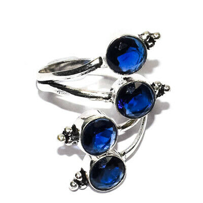 Blue Sapphire Gemstone 925 Silver Jewlery Ring Size -9-11 Adjustable