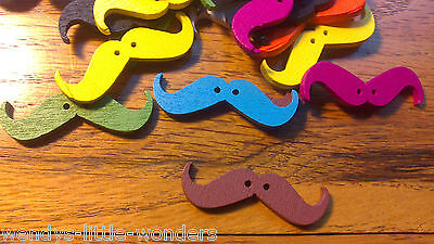 Job Lot 50 Wooden Cartoon Moustache Buttons 37mm Different Colours