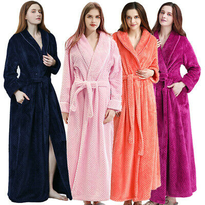 Mens Women Bathrobe Soft Long Sleepwear Couple Dressing Gown Thick Coral Fleece