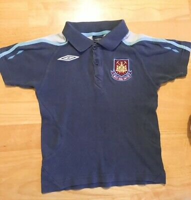West Ham United WHU Official Umbro Polo Shirt Kids 8-9 Yrs 134cm c.2014 Hammers