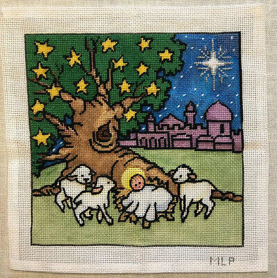 MLP Handpainted Needlepoint Canvas Manger Jesus Sheep Lamb Christmas Mary Pivec