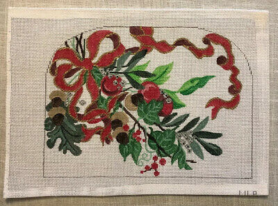 MLP Handpainted Needlepoint Canvas  Christmas Holly Bow Mary Pivec