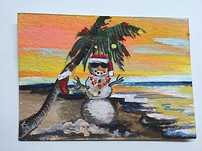 "ACEO ATC original ""Frosty's vacation "" OOAK Acrylic, Christmas Tropical Sandman"