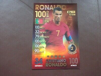 Match Attax 101 2019 CRISTIANO RONALDO(Portugal) 100 Club Card No191
