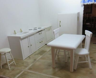 Dollhouse Miniature Kitchen White Appliance Set With Table and Chairs