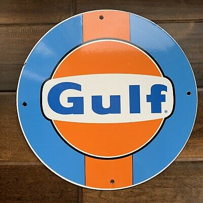 Gulf Racing Gasoline  Porsche Ford Gt  Porcelain Gas Oil Sign No Reserve