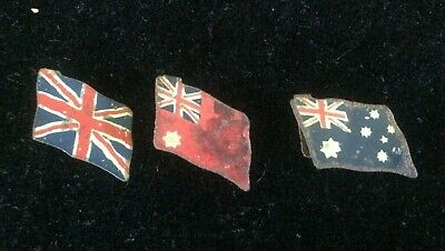 Group of three vintage 1915 Peter Pan Cigarette's tin flags