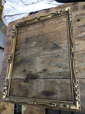 Vintage Carved Wood Gold Gilt Picture Frame 30 x 24 floral gilding detail