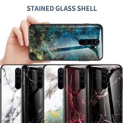 For Xiaomi Redmi Note 8 7 6 5 Pro Gradient Marble Tempered Glass Hard Case Cover