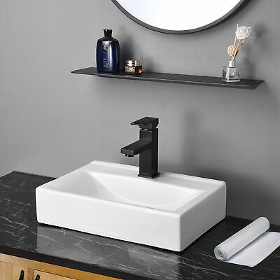 "18"" Wall Mount Sink Ceramic Sink Washing Basin for Bathroom Lavatory with Drain"