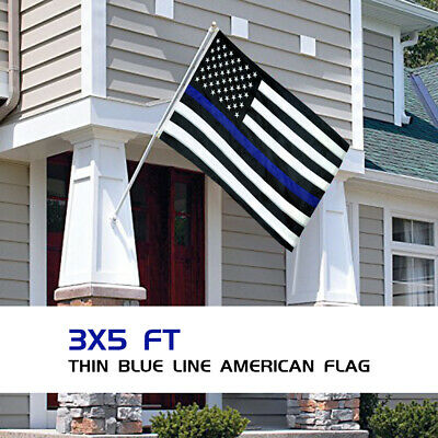 Thin Blue Line American Flag 3x5 Ft Police Embroidered Stars and Sewn Stripes