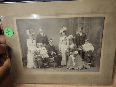 Antique 1900'S Cabinet Card Photo Wedding Photo Victorian Kids Flapper Hats More