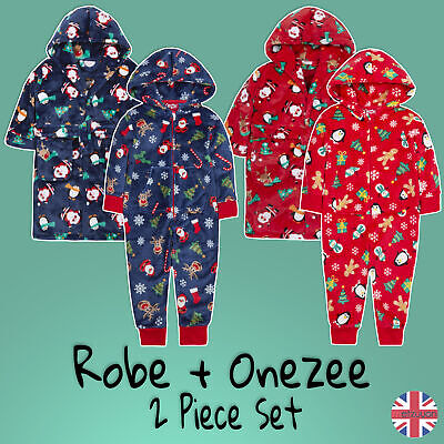 Childrens Christmas Onezee And Dressing Gown Set All in One Gift Xmas 2-13 Years