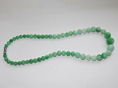 CHINESE HAND CARVED PALE GREEN JADE SMALL GRADUATED BEAD NECKLACE 41.6 gm
