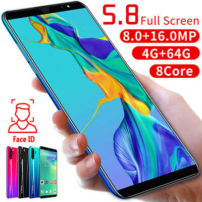 "P33 Pro Unlocked Smart Phone 5.8"" Android 8.1 HD Camera Dual SIM Mobile 4G+64G"