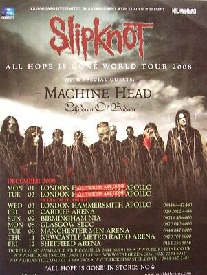 SLIPKNOT 2008 PROMO ADVERT CONCERT TOUR ALL HOPE IS GONE machine head