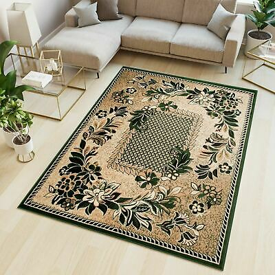 Small Medium Extra Large Green Rug Traditional Floral Pattern Short Pile Carpet