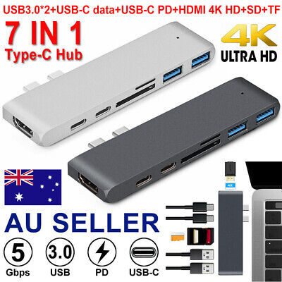7 in 1 USB-C Double Type C HD Output 4K HDMI USB 3.0 Adapter HUB For MacBook Pro