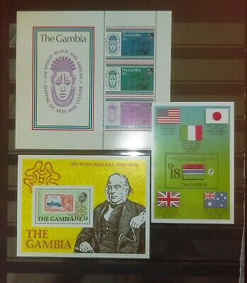 Three Mini Sheets From The Gambia - Churchill, Flags Culture, Arts