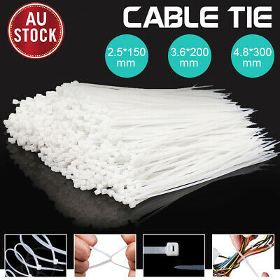 Cable Ties Zip Ties Nylon UV Stabilised 100/200/500/1000pcs Bulk White Cable Tie