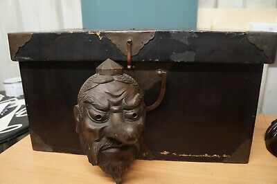 Antique Authentic Hand Made Solid Carved Wood Japanese Tengu Mask Artist Signed