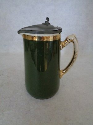 Vintage Ceramic Pitcher/Stein Green & Gold With Hinged Metal Lid (Cat.#4B029)