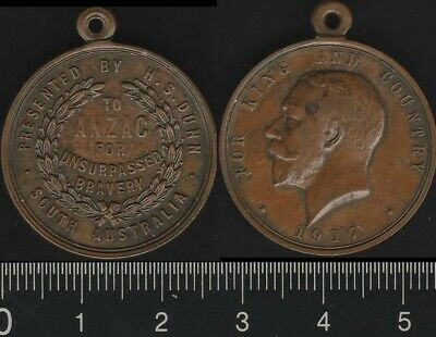 Australia: 1917 Presented by HS Dunn To ANZAC for Unsurpassed Bravery medal RARE