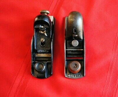 Two Vintage Wood Block Planes, Stanley, Shelton, Old Tools