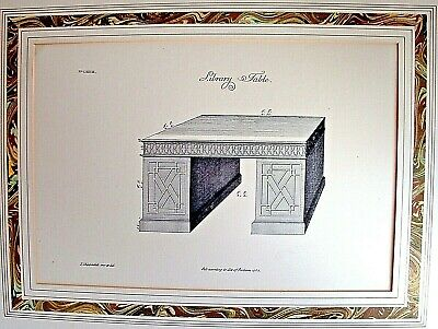"""Antique Thomas Chippendale inv et del """"Library Table"""" Print Act Of Parliam 1753"""