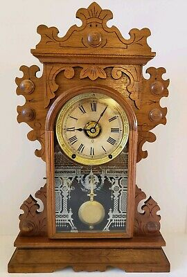 "Antique Working 1888 SETH THOMAS ""Carthage"" City Series Walnut Parlor Clock"