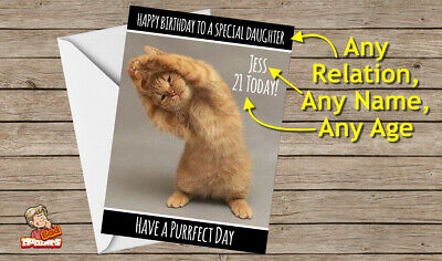 Funny Personalised Birthday Card - Yoga Cat Exercise Any Name / Age / Relation