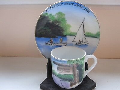 Vintage Souvenir Cup & Saucer From Shakamak State Park, Ind. Hand Painted Art