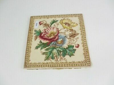Late Vintage Ceramic Tile Vintage Floral Flower Art Nouveau Flowers Old Retro