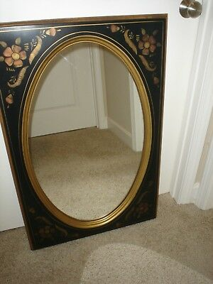 ETHAN ALLEN Hitchcock Style Black Stenciled 14-9217 Mirror 1970's 24X36 EUC