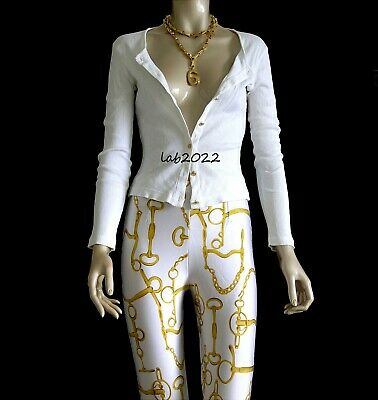 Gucci Tom Ford 1994 Resort Horsebit Pants & White Cardigan Size Med