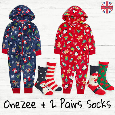 Kids Boys Girls Christmas 1Onesie Xmas Pjs One Piece Pyjamas with 2 Pairs Socks